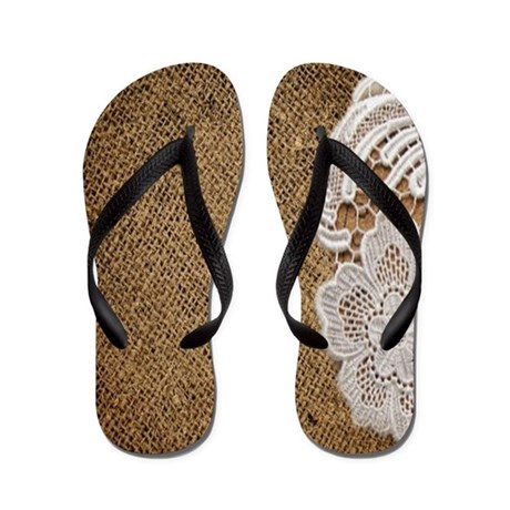 burlap lace country chic Flip Flops