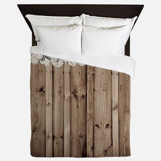 barnwood white lace country Queen Duvet