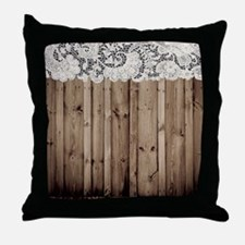 barnwood white lace country Throw Pillow