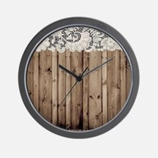 barnwood white lace country Wall Clock