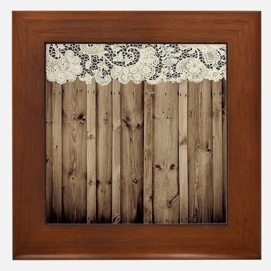 barnwood white lace country Framed Tile