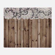 barnwood white lace country Throw Blanket