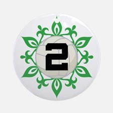 Volleyball Number 2 Christmas Snowflake Ornament (