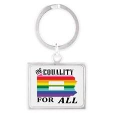 Pennsylvania one equality blk font Keychains