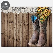 cowboy boots barnwood country Puzzle