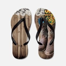 cowboy boots barnwood country Flip Flops