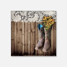 "cowboy boots barnwood count Square Sticker 3"" x 3"""