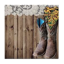 cowboy boots barnwood country Tile Coaster
