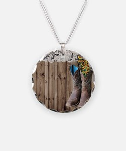 cowboy boots barnwood countr Necklace