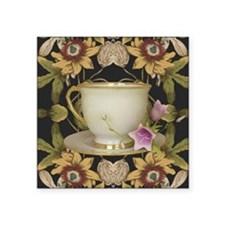 "floral tea cup Square Sticker 3"" x 3"""