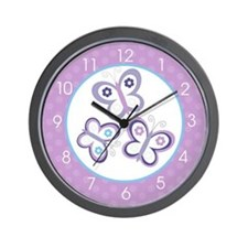 Purple Butterfly Wall Clock Wall Clock