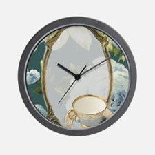 floral tea cup vintage Wall Clock