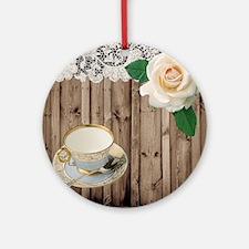 floral tea cup vintage Round Ornament