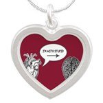 Im With Stupid (Heart to Brain) Silver Heart Neckl