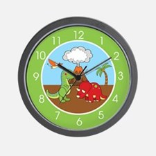 Cute Dinosaurs (Green) Wall Clock