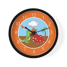 Cute Dinosaurs (Orange) Wall Clock