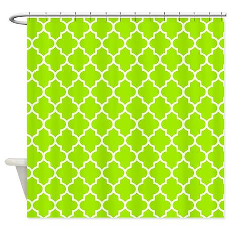 lime green quatrefoil shower curtain