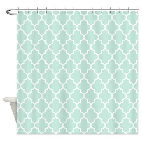 mint quatrefoil shower curtain by inspirationzstore