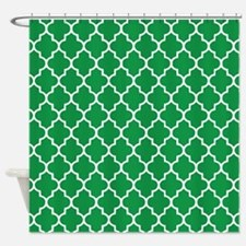 Green Quatrefoil Shower Curtain
