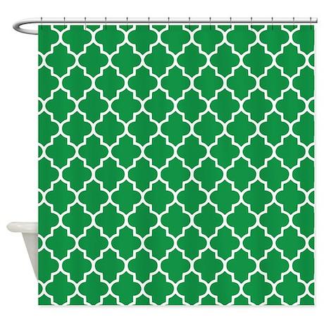 green quatrefoil shower curtain