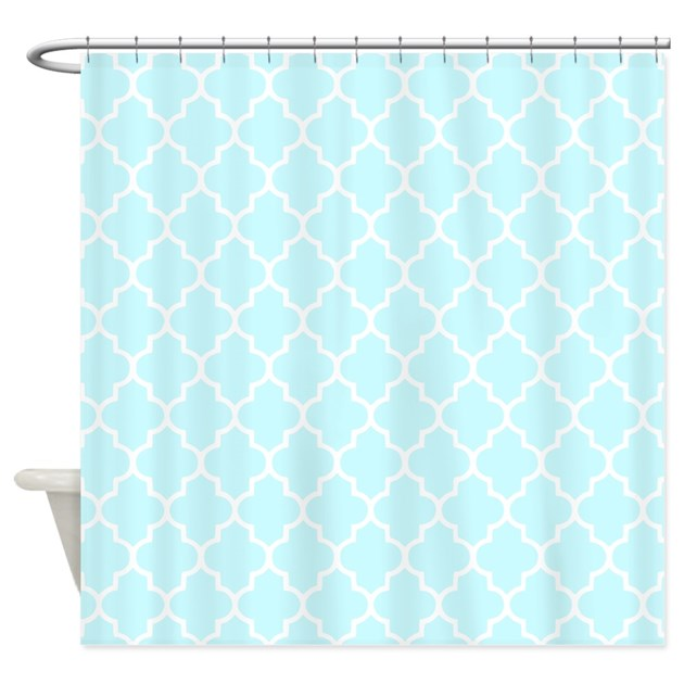 baby blue quatrefoil shower curtain by inspirationzstore