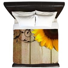 sunflower barnwood country King Duvet