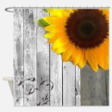 sunflower barnwood country Shower Curtain
