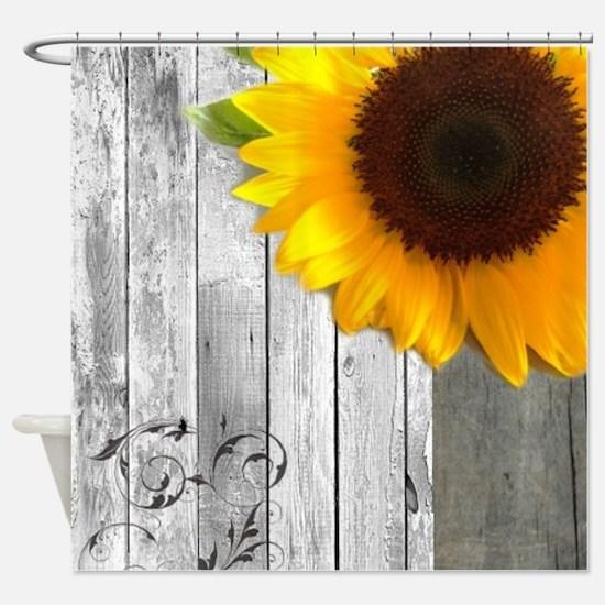 sunflower barnwood country Shower Curtain