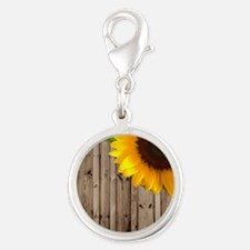 sunflower barnwood country Silver Round Charm