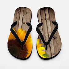 sunflower barnwood country Flip Flops