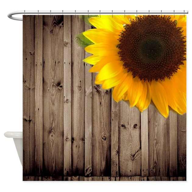 sunflower barnwood country shower curtain by listing store. Black Bedroom Furniture Sets. Home Design Ideas