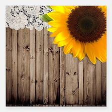 "sunflower barnwood lace  Square Car Magnet 3"" x 3"""