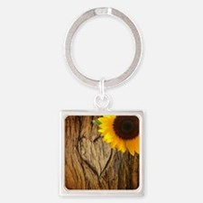 sunflower heart country Square Keychain