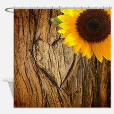 sunflower heart country Shower Curtain