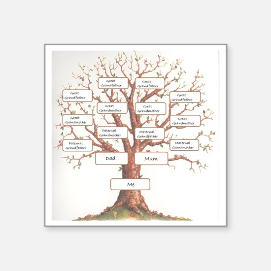"Ancestor Tree Square Sticker 3"" x 3"""
