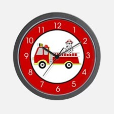 Fire Truck with Dalmatian Wall Clock