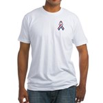 Red White & Blue Ribbon Fitted T-Shirt
