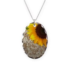 damask sunflower country decor Necklace
