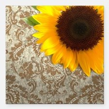 "damask sunflower country Square Car Magnet 3"" x 3"""