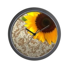 damask sunflower country decor Wall Clock