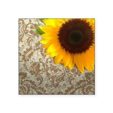 "damask sunflower country de Square Sticker 3"" x 3"""