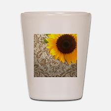 damask sunflower country decor Shot Glass