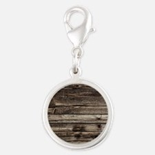 rustic barnwood western countr Silver Round Charm