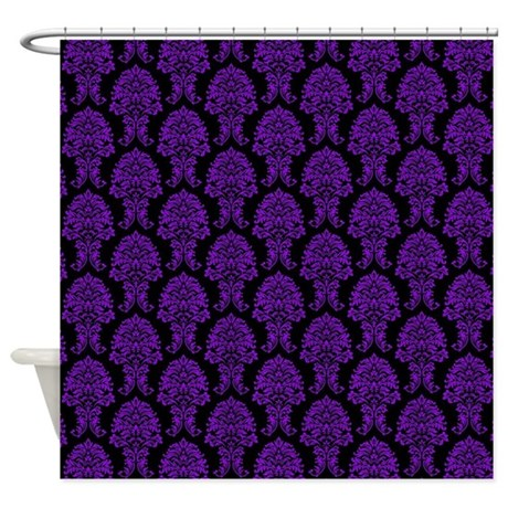 Purple And Black Damask Shower Curtain By Listing Store