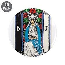 """HIGH PRIESTESS TAROT CARD 3.5"""" Button (10 pack)"""