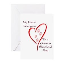 GSD Heart Belongs Greeting Cards (Pk of 10)