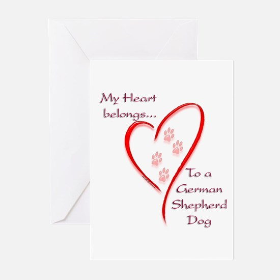 GSD Heart Belongs Greeting Cards (Pk of 10)