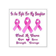 """Breast Cancer Square Sticker 3"""" x 3"""""""