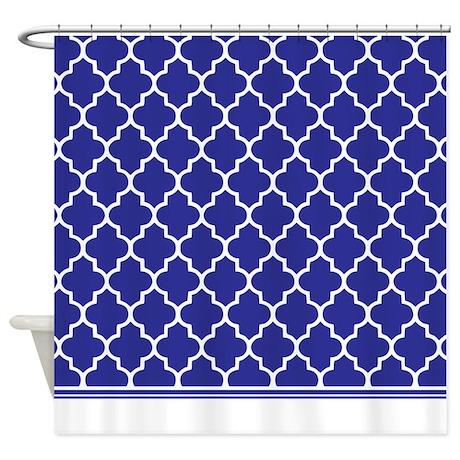 dark blue quatrefoil shower curtain by inspirationzstore. Black Bedroom Furniture Sets. Home Design Ideas