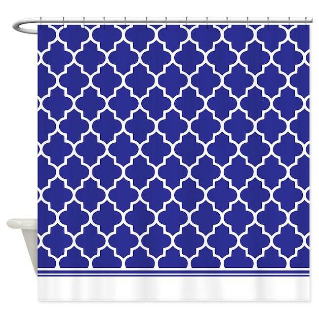 Dark Blue Quatrefoil Shower Curtain By Inspirationzstore